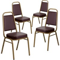 """Flash Furniture 4-Pack HERCULES Series Trapezoidal Back Stacking Banquet Chair with Vinyl and 2.5"""" Thick Seat, Gold Frame, Multiple Colors"""