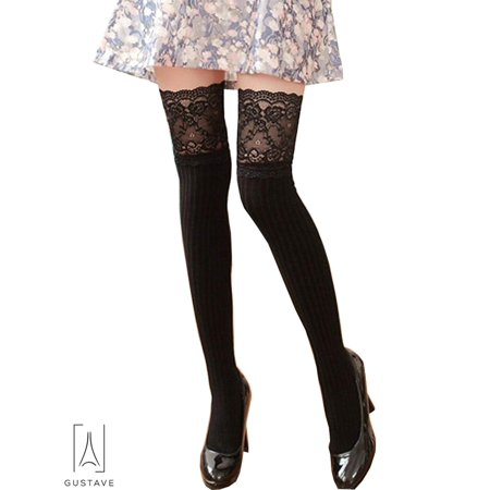 64bf1e791ed Gustave - GustaveDesign Over the Knee Knit Long Thigh High Stockings Lace  Plain Leg Warmers Boots Socks for Girls Women