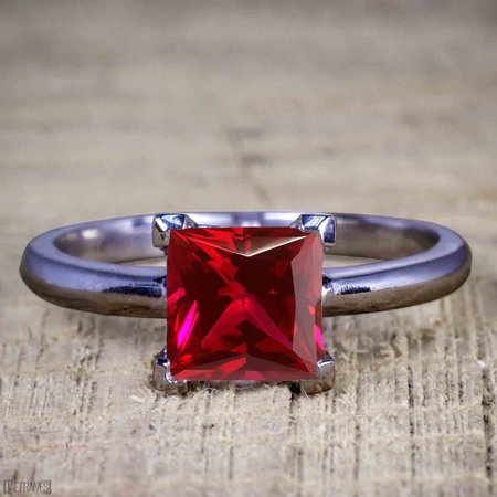 1 Carat Princess cut Ruby Solitaire Engagement Ring in Black Gold