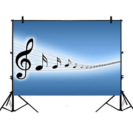 GCKG 7x5ft Lovely Melody Music Notes Polyester Photography Backdrop Studio Photo Props