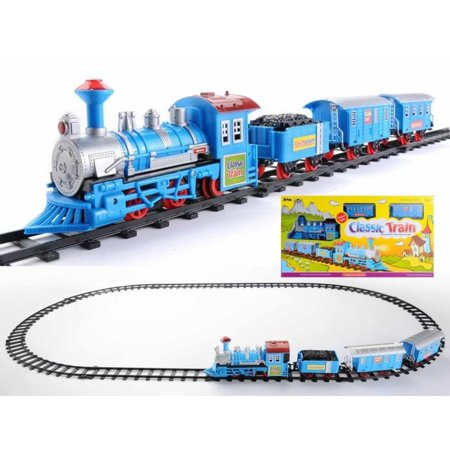 - 14-Piece Vibrant Blue Battery Operated Lighted & Animated Classic Cartoon Train Set with Sound