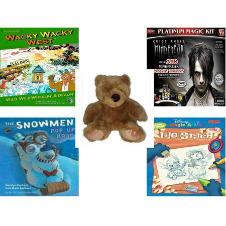 Lilo And Stitch Happy Birthday (Children's Gift Bundle [5 Piece] -  Wacky Wacky West  - Criss Angel Platinum Magic Kit  - Soft and Cuddly Brown Teddy Bear - Snowmen Pop-Up Book )