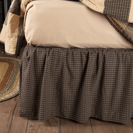 Grace Bedskirt - Country Black Primitive Bedding Prim Grove Cotton Split Corners Gathered Plaid King Bed Skirt