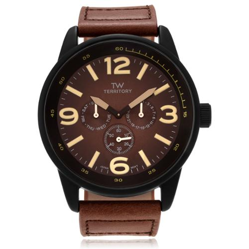 Territory Men's Leather Round Multifunction Strap Watch