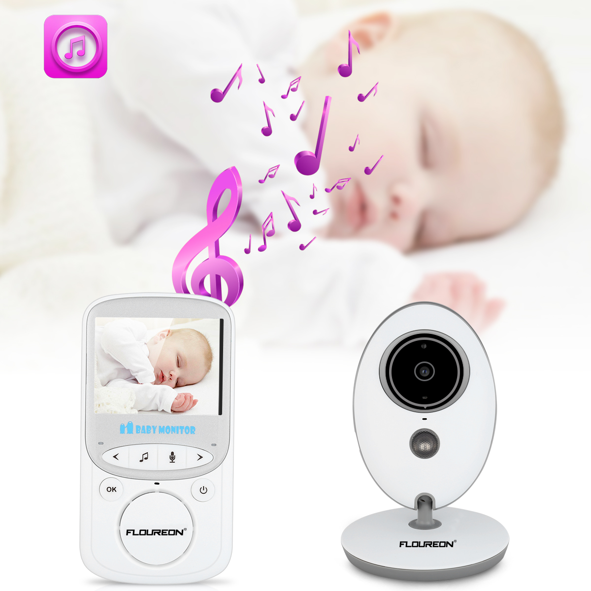 Wireless Video Baby Monitor with Digital Camera, Night Vision Temperature Monitoring & 2 Way Talkback System, White