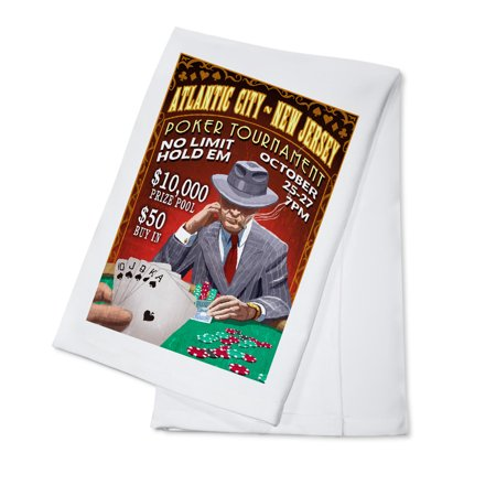 Atlantic City, New Jersey - Poker Tournament Vintage Sign - Lantern Press Poster (100% Cotton Kitchen (Poker Jersey)
