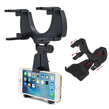 EEEKit Car Rearview Mirror Mount for Phone GPS, Truck Auto Cellphone Bracket Holder Cradle for Samsung Galaxy S9/S9 Plus/S8/S8 Plus/S7/S7 Edge/S6/S6 Edge/S3/4/5 Note9/8/5 PDA MP3 MP4