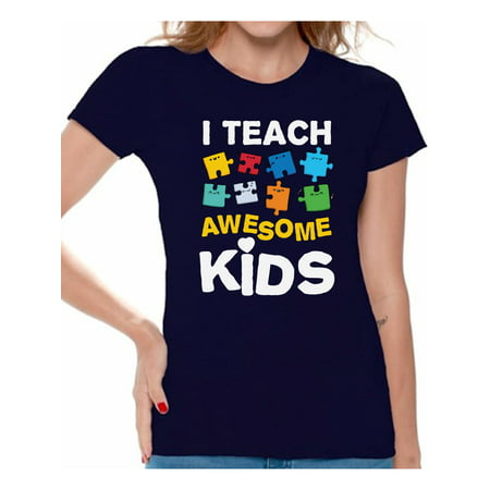 Awkward Styles Women's Autism Awareness Puzzle Graphic T-shirt Tops I Teach Awesome Kids (Autism Awarness)