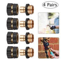 Garden Hose Quick Connect Set - 3/4Inch No-Leaking Water Hoses Quick Connect Release, 4 Male Connects + 4 Female Connects