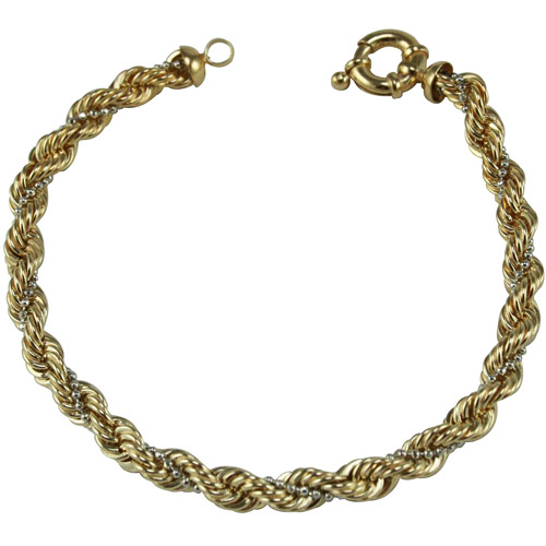"""Rope and Beaded 18kt Gold-Plated Bracelet, 7.5"""""""