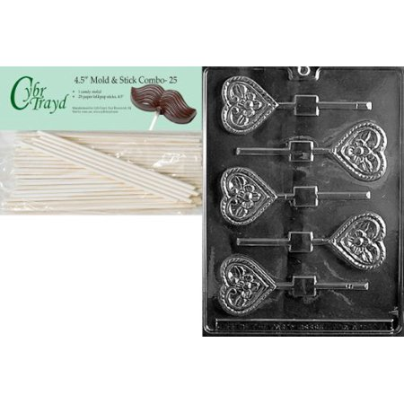 Cybrtrayd 45St25-V072 Flower Heart Lolly Valentine Chocolate Candy Mold with 25 4.5-Inch Lollipop Sticks (Flower Lollipops)