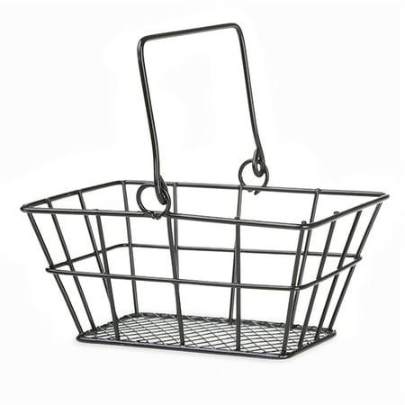 Stella Mini Rect Wire Shopper Basket with Swing Handle - Black - 5in (Mini Baskets)