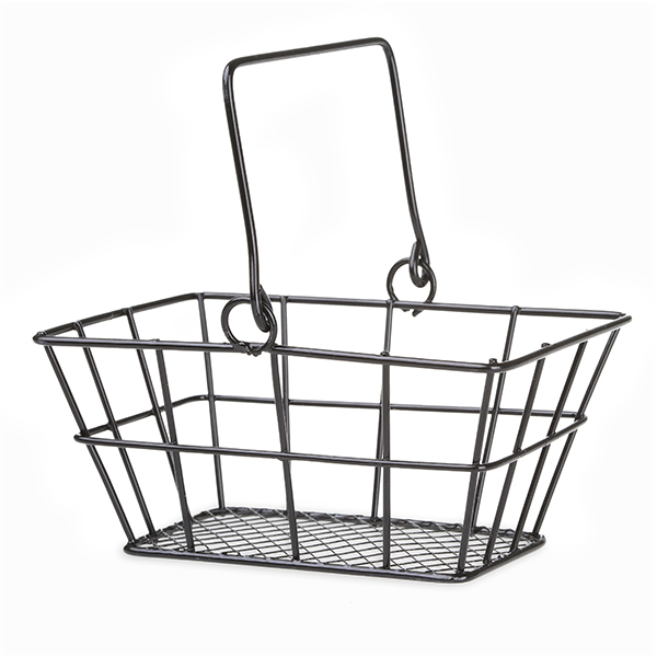 Stella Mini Rect Wire Shopper Basket with Swing Handle - Black - 5in