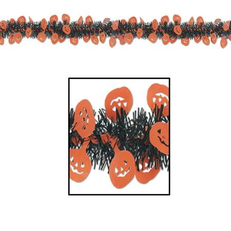 Club Pack of 12 Halloween Metallic Black and Orange Pumpkin Fringed Garland 12