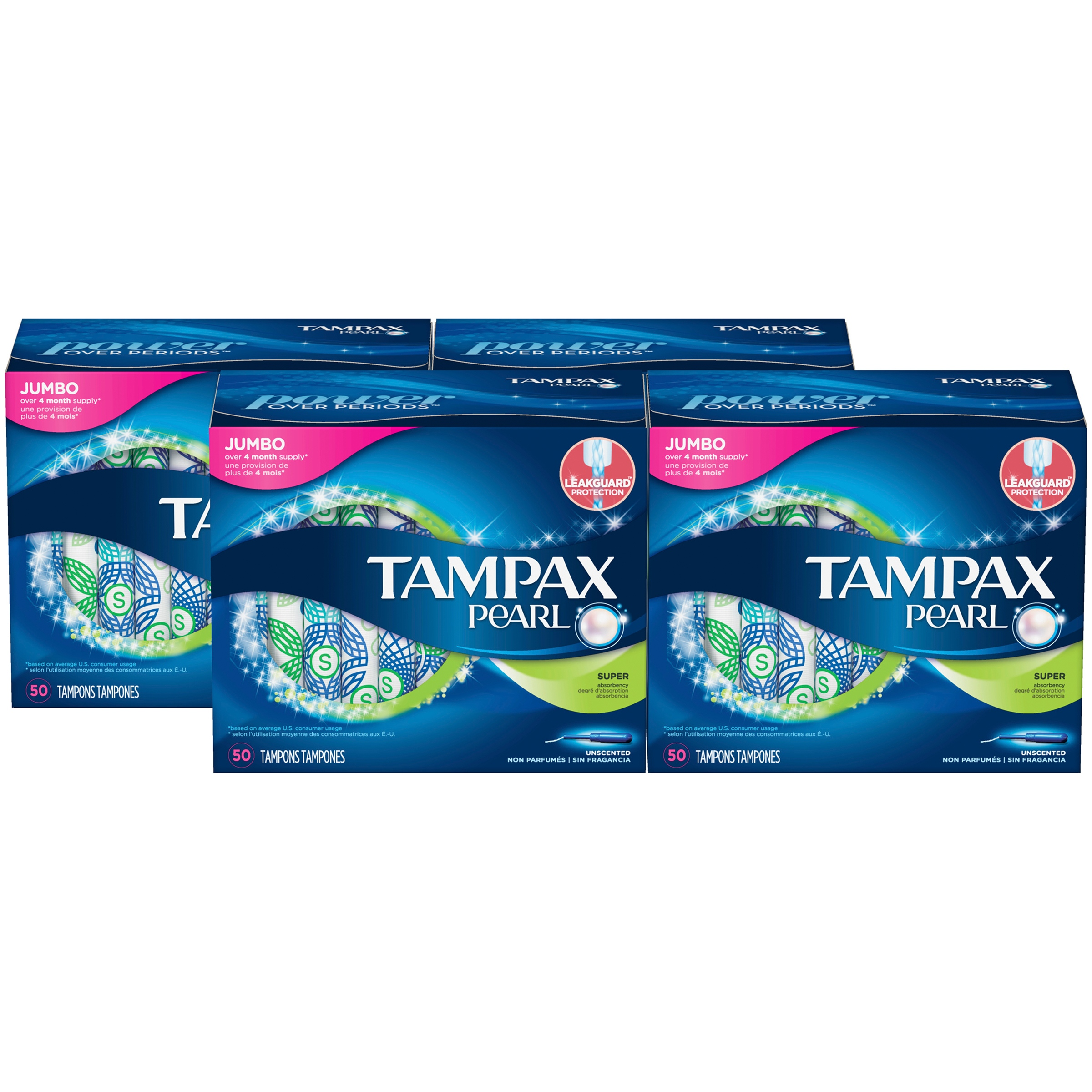Tampax Pearl Super Plastic Tampons, Unscented, 200 Count