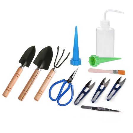 Watering Tools (ZELARMAN Bonsai Tools Kit Set-12 pcs Succulent Mini Garden Tools for Bonsai Tree Pruning Trimming Watering )