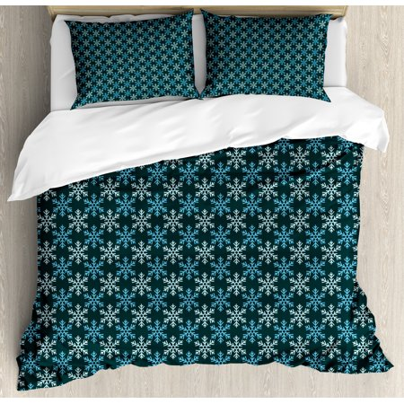 Snowflake King Size Duvet Cover Set, Geometric Pattern of Symmetric Motifs Winter Season Inspired Design, Decorative 3 Piece Bedding Set with 2 Pillow Shams, Emerald Pale Green Blue, by Ambesonne