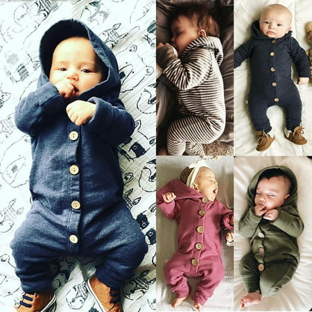 100%Cotton Newborn Baby Boy Girl Kids Cotton Hooded Romper Jumpsuit Clothes Outfit (Toddler Jumpsuit)
