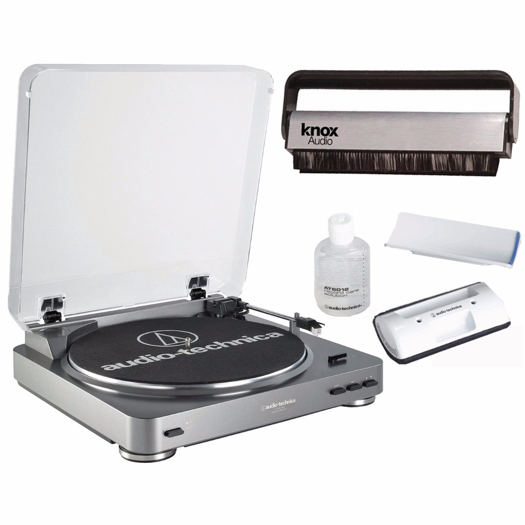 Audio-Technica AT-LP60 Fully-Automatic Turntable + Cleaning Kit + Knox Vinyl Brush Cleaner