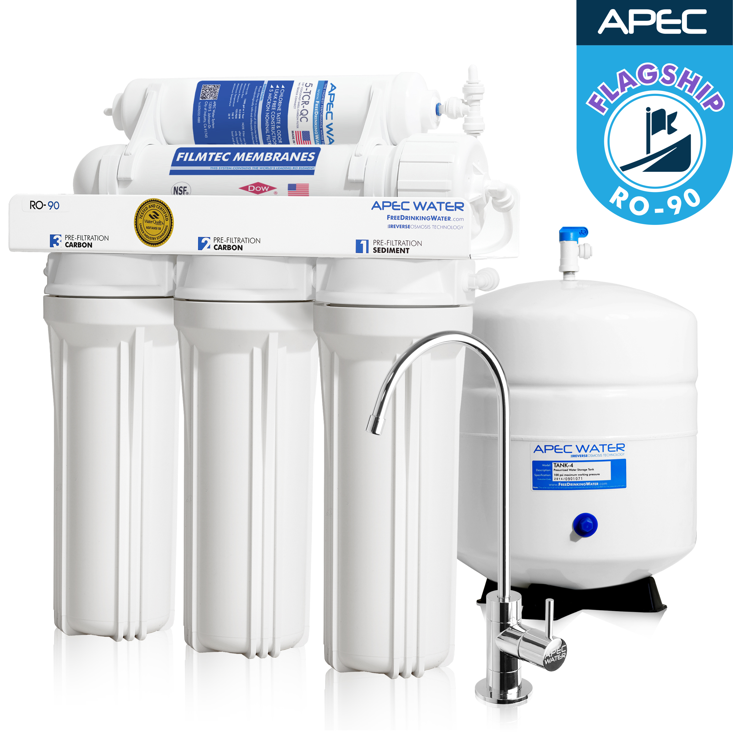 APEC Top Tier Supreme Certified High Flow 90 GPD Ultra Safe Reverse Osmosis
