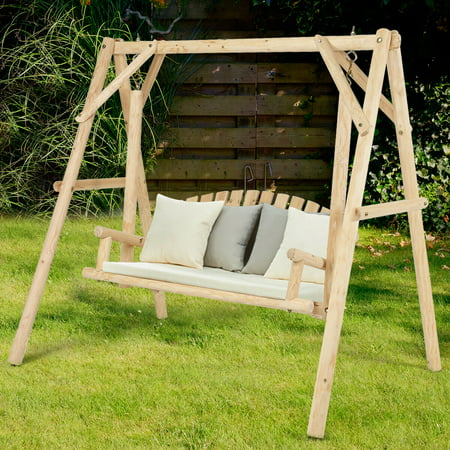 Gymax Wooden Porch Swing Outdoor Patio Rustic Torched Log Curved Back Bench A Frame