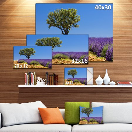 Lone Green Tree in Lavender Field - Large Landscape Canvas Art - image 2 of 4