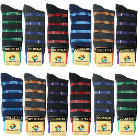Soft Cotton Argyle Socks - USBingoshop 12 Pairs Men's Argyle Fashion Cotton Casual Dress Socks Soft Crew Socks