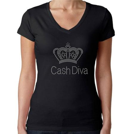 Womens T-Shirt Rhinestone Bling Black Tee Cash Diva Regal Crown V-Neck Small