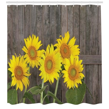 Sunflower Shower Curtain Helianthus Sunflowers Against Weathered Aged Fence Summer Garden Photo Fabric Bathroom