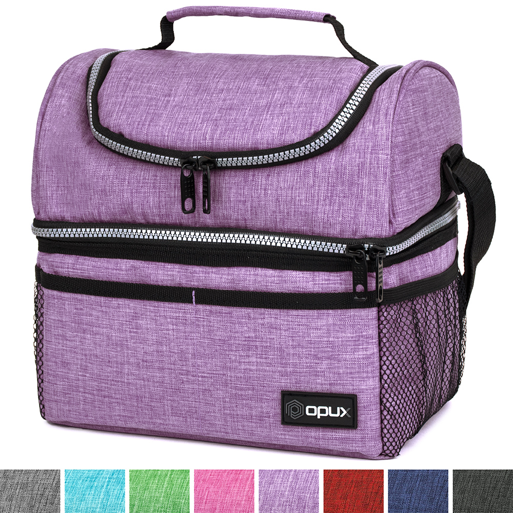 Thermal Insulated Dual Compartment Lunch Bag for Men, Women   Double Deck Reusable Lunch Box with Shoulder Strap, Leakproof Liner   Medium Lunch Box for School, Work, Office