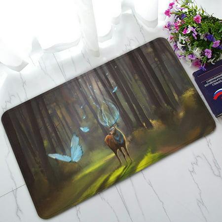PHFZK Woodland Doormat, Magic Deer Walking in the Forest Doormat Outdoors/Indoor Doormat Home Floor Mats Rugs Size 30x18 (Walking Floor)