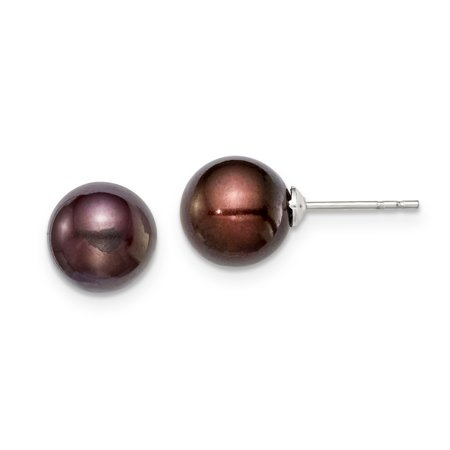 Sterling Silver 8-9mm Coffee FW Cultured Round Pearl Stud Earrings