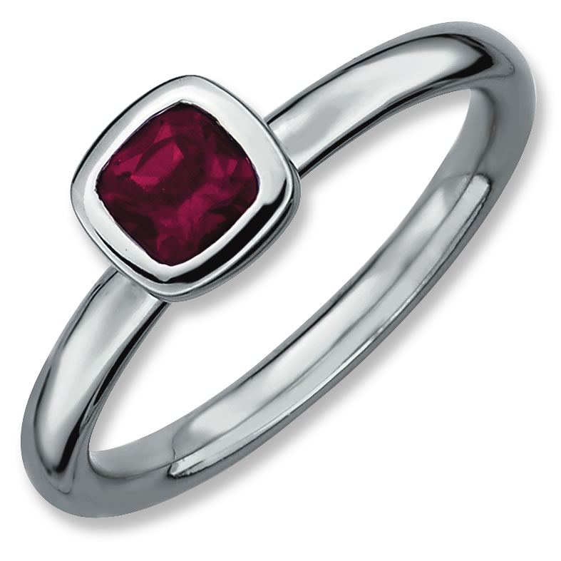 Sterling Silver Stackable Expressions Cushion Cut Rhodium Garnet Ring