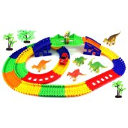 'Dinosaur Rail 3' 180 Pcs Flexible Toy Car & Track Playset w/ Battery Operated Toy Car, Accessories, Endless Fun & Combinations
