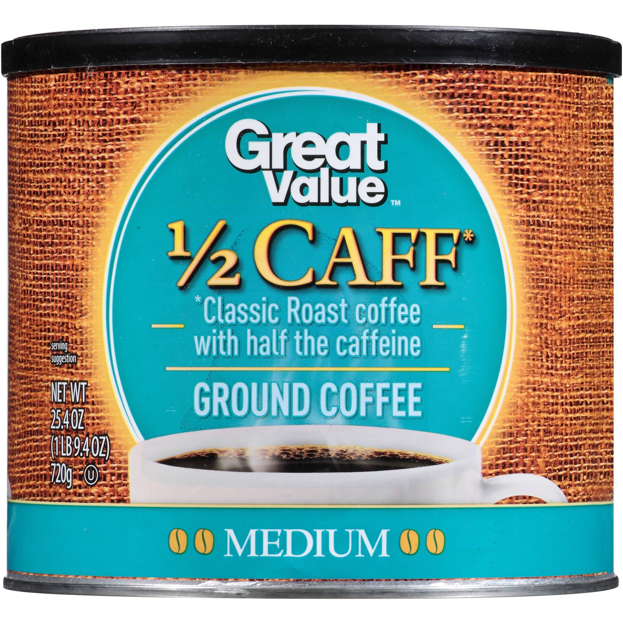 Great Value 1/2 Caff Classic Roast Medium Ground Coffee, 25.4 oz