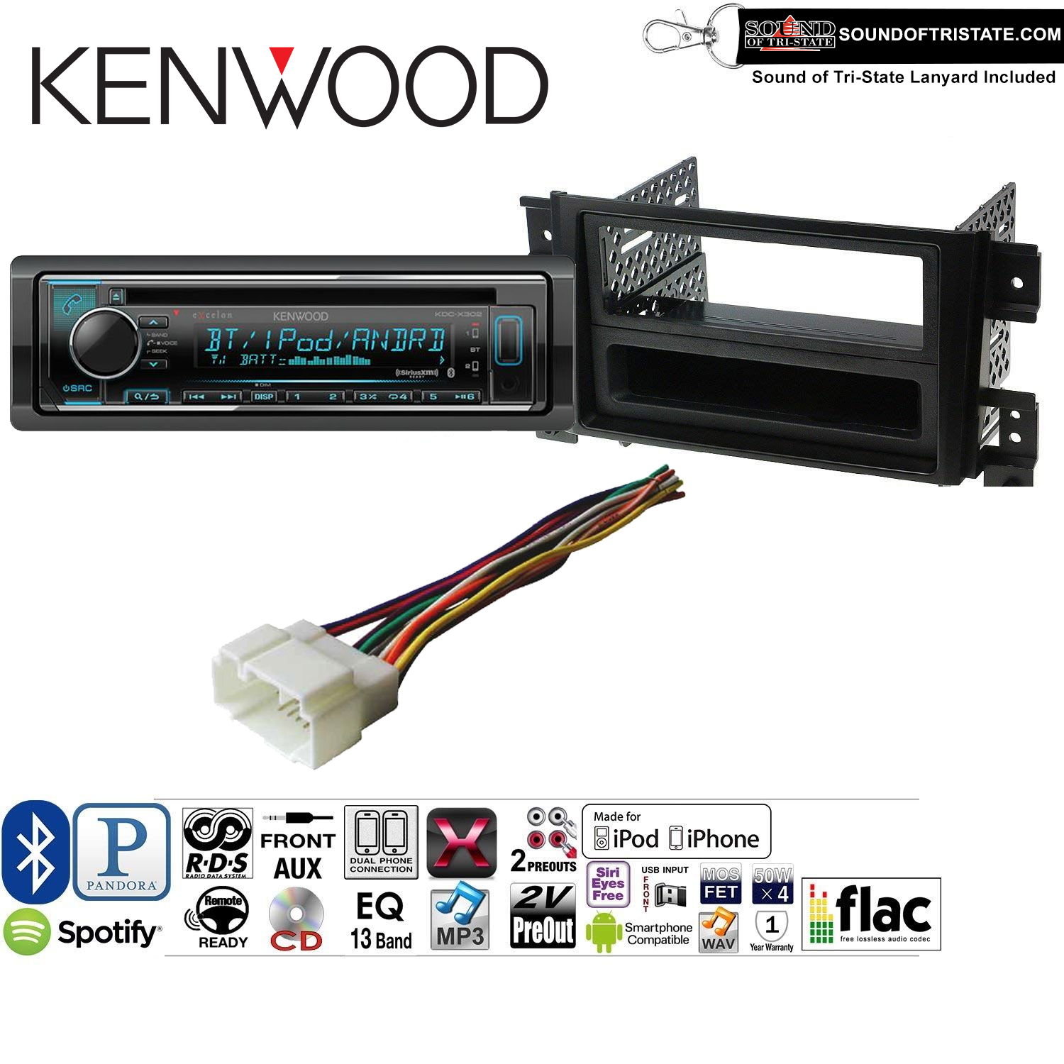 Kenwood KDCX302 Double Din Radio Install Kit with Bluetooth, CD Player, USB/AUX Fits 2006-2013 Suzuki Grand Vitara and a SOTS lanyard included