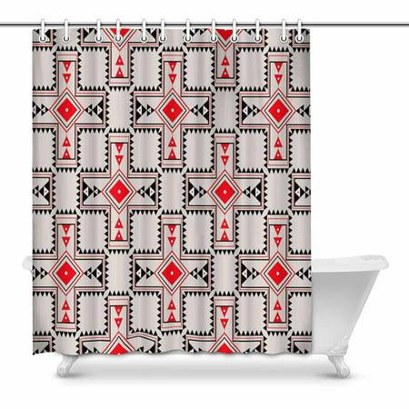 MKHERT Aztec Tribal Print Bathroom Shower Curtain 60x72 Inch