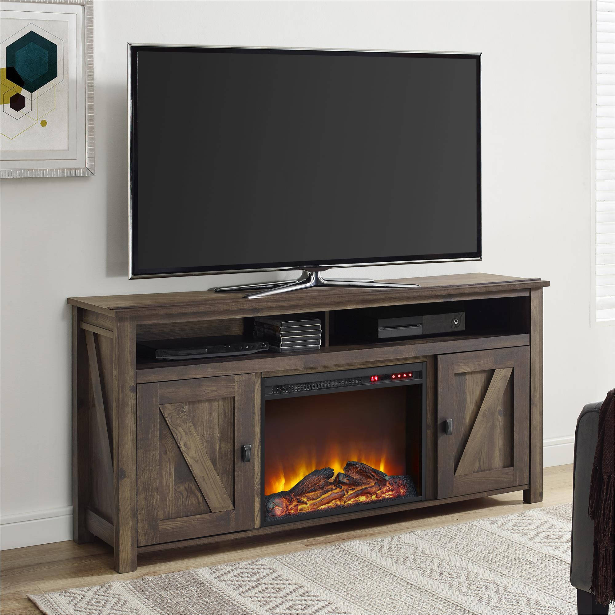 Farmington Electric Fireplace TV Console For TVs Multiple Colors And Sizes