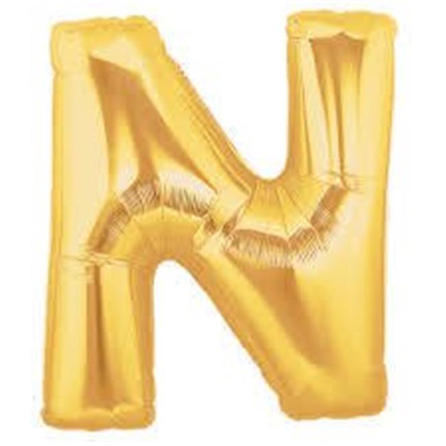 Betallic 38278 7 in. Gold Megaloon Letter N Balloon