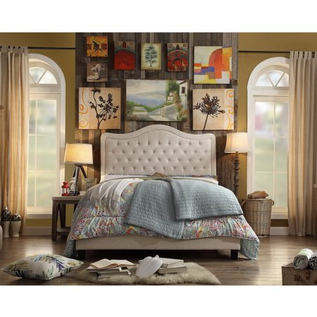 Image of Alton Furniture Agnella Full Upholstered Platform Bed, Beige