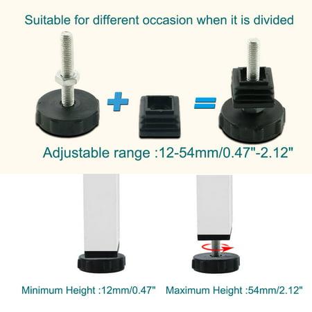M8 Leveling Feet 25 x 25mm Square Tube Inserts Kit Furniture Glide Adjustable Leveler for Table Desk Leg 10 Sets - image 1 de 7