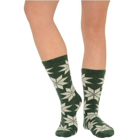Womens Crew Socks Wool Cashmere Blend Poinsettia Floral Print 5 Colors (Printed Wool Blend)