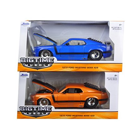 1970 Mustang Boss 429 Blue & Orange 2 Cars Set 1/24 by Jada 98026-98030 SET, Rubber tires. Brand new box. Detailed interior, exterior. Made of diecast with some.., By Ford From