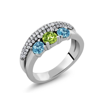 1.87 Ct Round Green Peridot Swiss Blue Topaz 925 Sterling Silver Ring