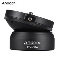 "Andoer DY-60A Aluminum Alloy Tripod Leveling Base Panorama Photography Ball Head 15° Inclination with 1/4"" screw Bubble Level for Canon Nikon Sony DSLR Cameras"