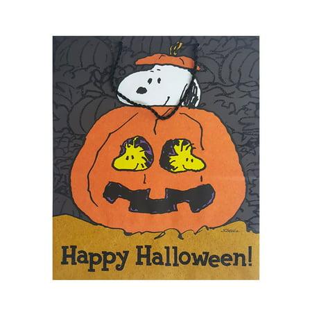 Halloween Brown Paper Bag Decorating (Hallmark Peanuts Snoopy & Woodstock Halloween Gift)