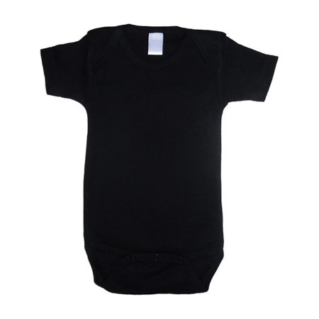 Bambini Baby Unisex Black Cotton Interlock One Piece Bulk Bodysuit (Black Baby Onesie)