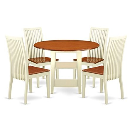 East West Furniture Sudbury 5 Piece Round Extending Dining Table Set ()