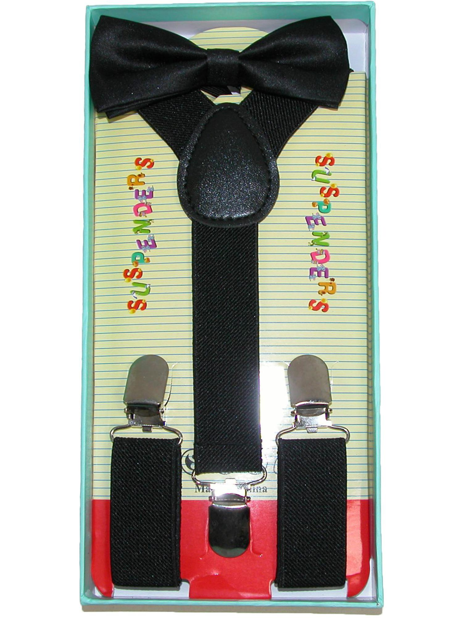 Size one size Infant or Kid's Solid Color Bow Tie and Suspender Set
