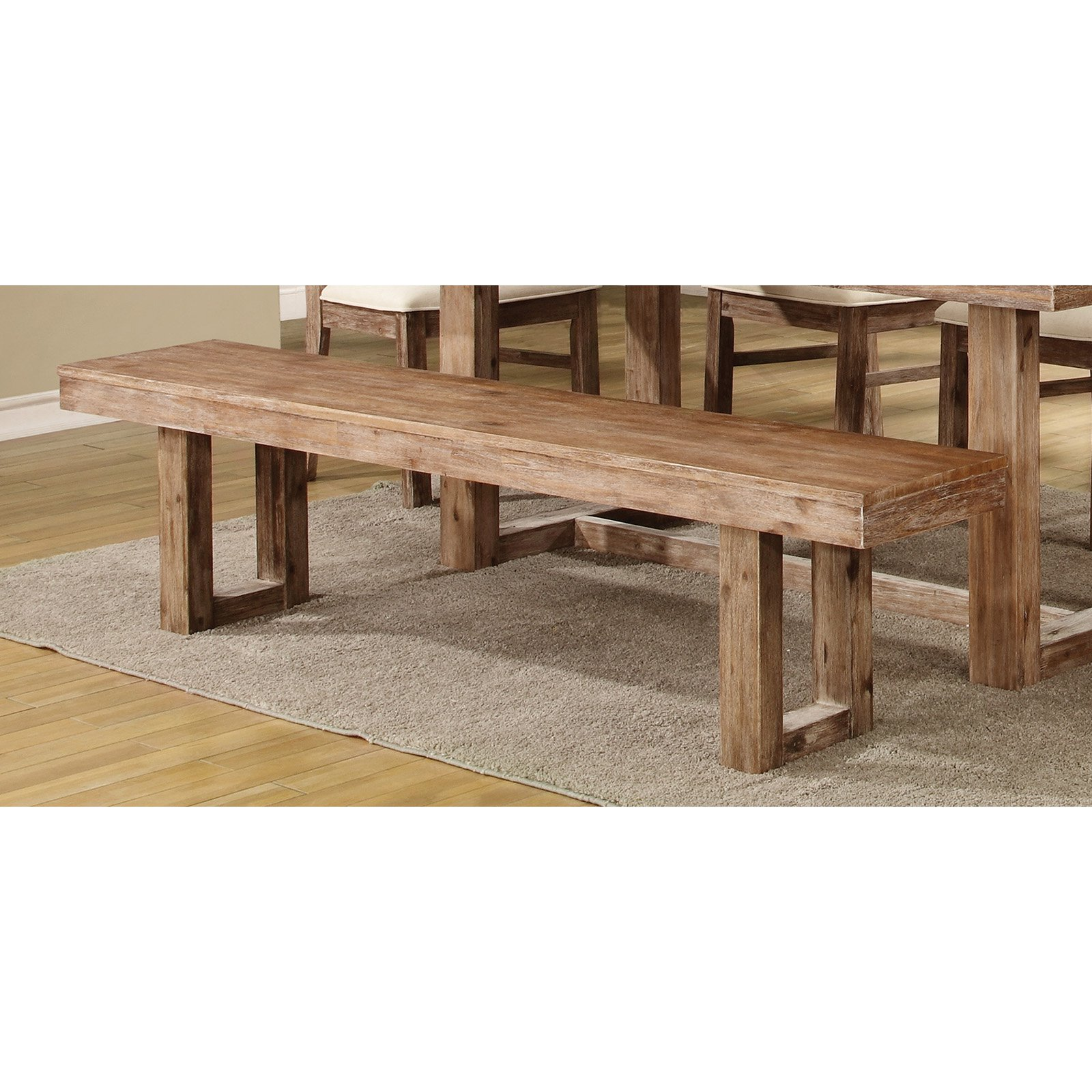 Coaster Company Elmwood Collection Bench, Wired Brush Nutmeg